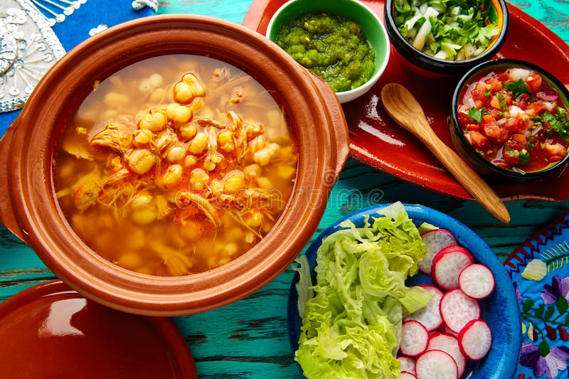 Pozole with mote big corn stew from Mexico. With ingredients and appetizer stock photos