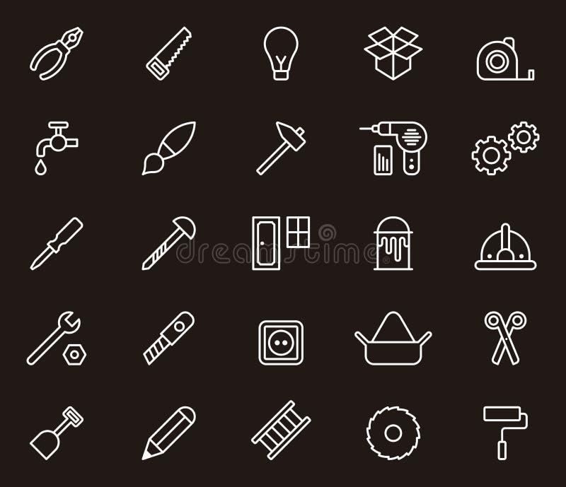 pozostałe symbole cieśli hydraulików narzędzi pracowników ilustracja wektor