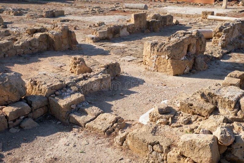Pozostałości willi Park Archeologiczny Paphos Cypr fotografia stock