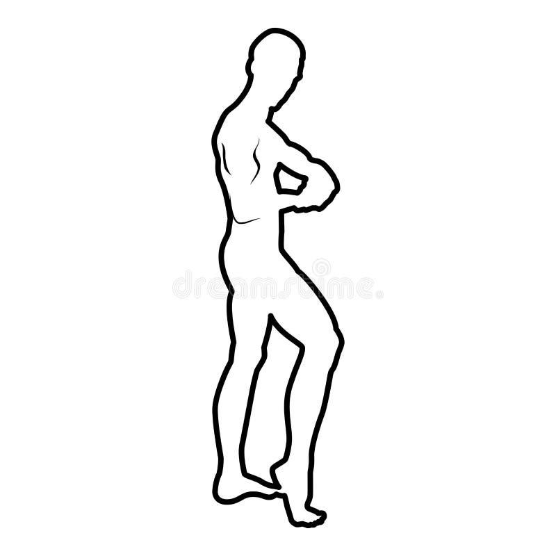 Pozować bodybuilder sylwetki Bodybuilding pojęcia ikony czerni koloru ilustracji kontur ilustracja wektor