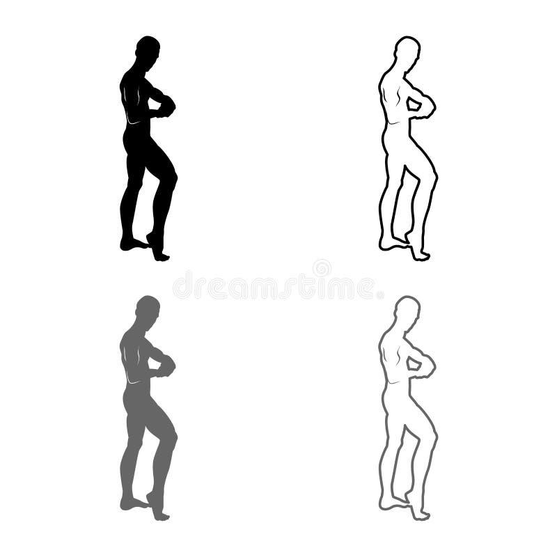 Pozować bodybuilder sylwetki Bodybuilding pojęcia ikony setu koloru ilustracji konturu mieszkania popielatego czarnego stylu pros ilustracja wektor