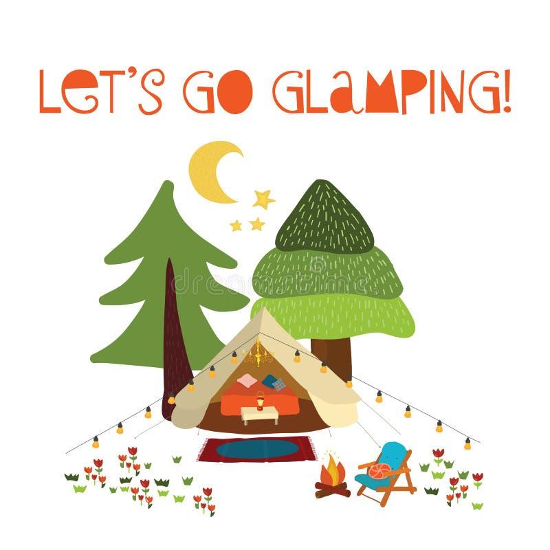 Pozwalać iść glamping - lato sceny wektoru campingowa ilustracja Boho teepee namiot Obozowa nocy scena z ogniskiem, krzesła, drze ilustracji