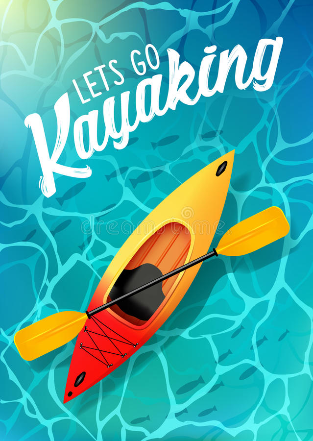 Pozwalać iść kayaking lato plakata wody denny odgórny widok Kajak i paddle ilustracji