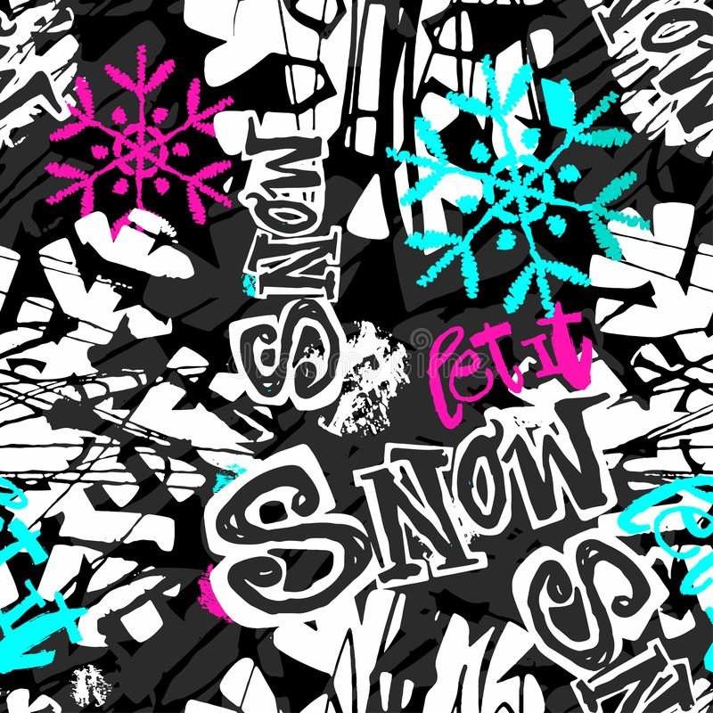 Pozwalać mnie śnieg, bezszwowego zimy ręki rzemiosła atramentu ekspresyjny wzór ilustracja wektor