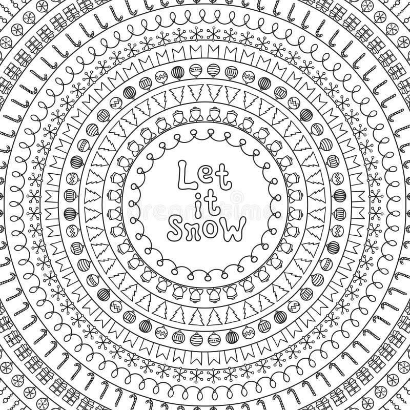 Pozwalać mnie śnieg karta Powitania 2018 boże narodzenia pocztówkowi Ręka rysująca kreskowa granica i rama Kaligrafia zwrot handw royalty ilustracja
