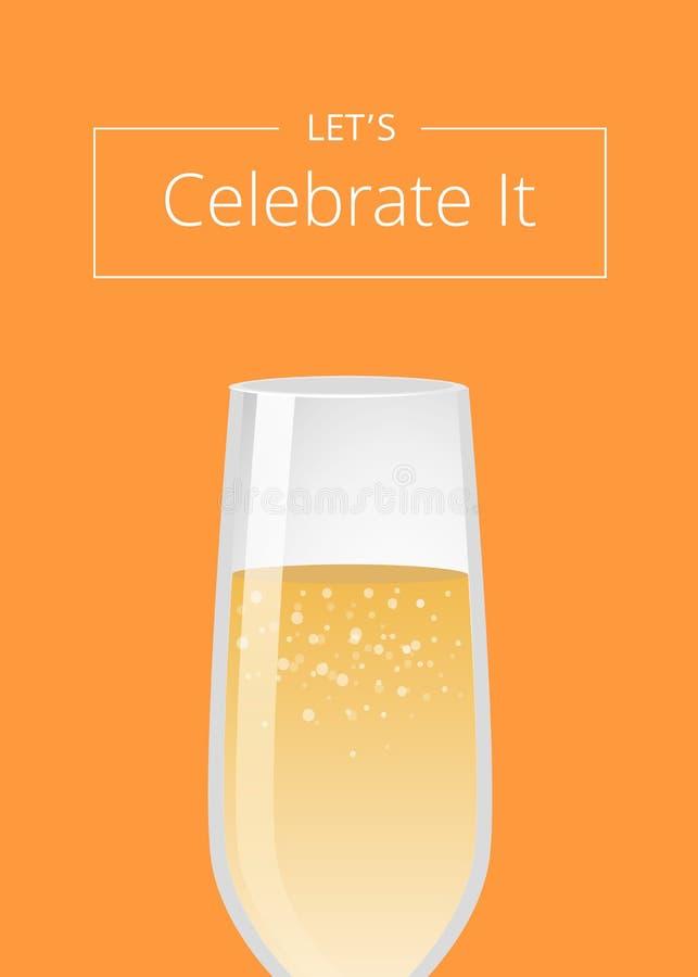 Pozwala Świętować mnie reklama plakata szampan royalty ilustracja