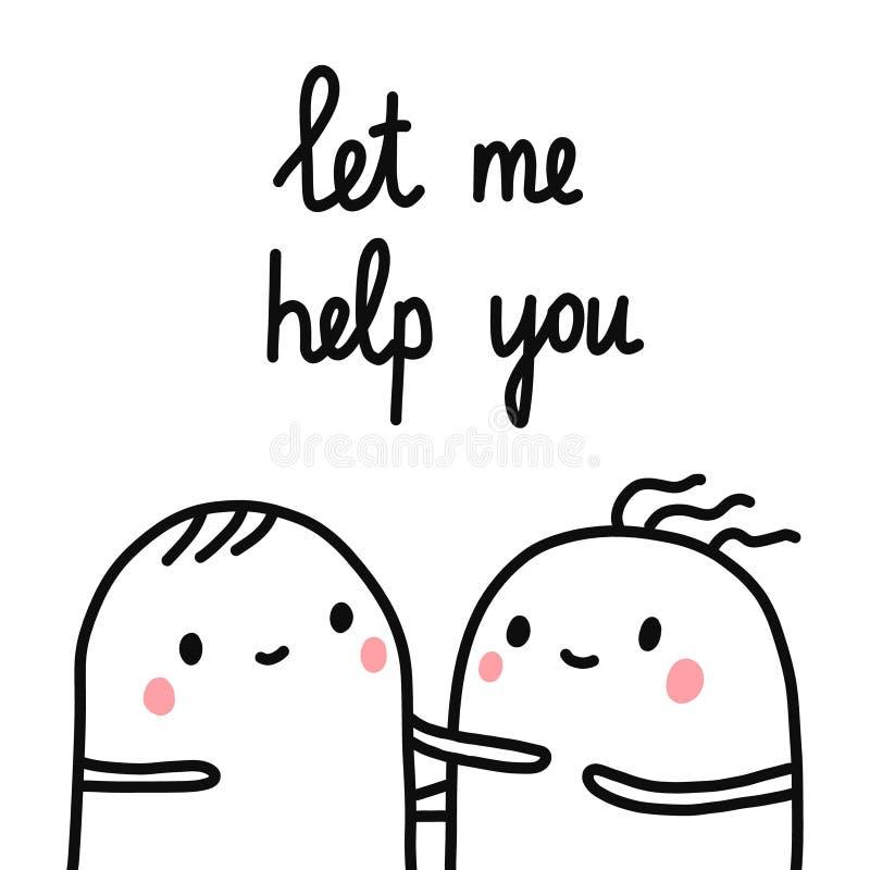 Pozwala ja pomagać ciebie wręczać rysującej ilustracji dwa smutnego marshmallows pomaga dla artykuł książek druków plakatów sztan obrazy stock