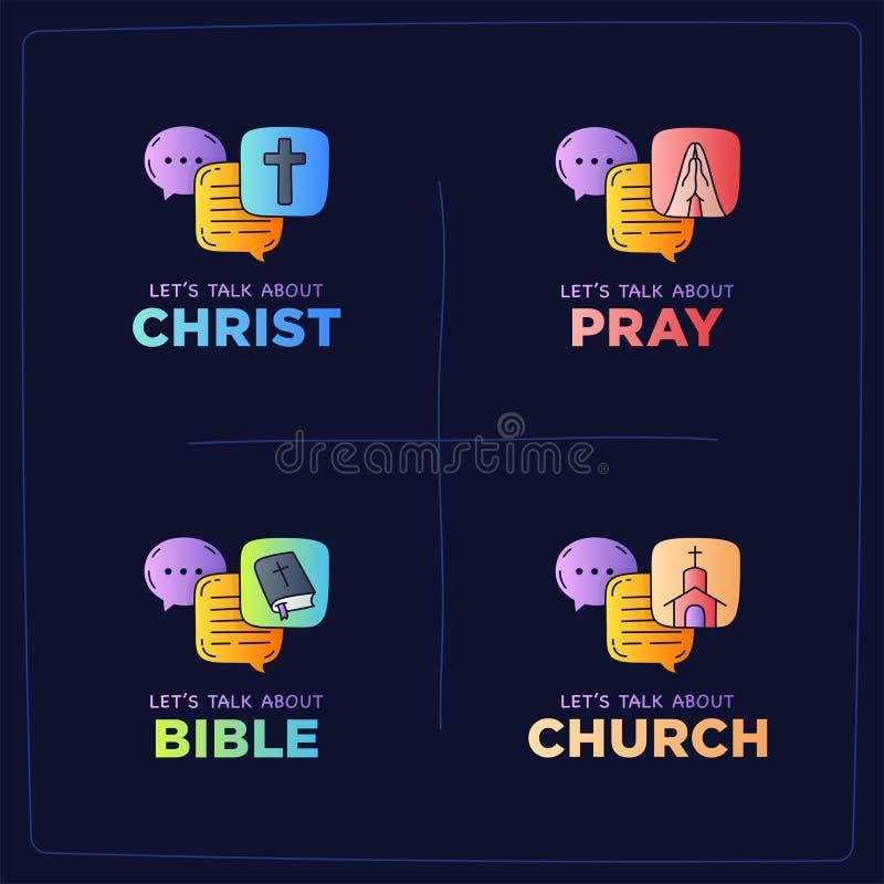 Pozwala my opowiadał Chrystus, modli się doodle ilustrację, biblia, kościół, ilustracji