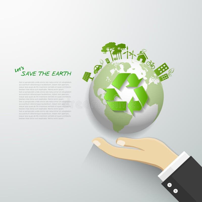 Pozwala my save ziemię, ekologii pojęcia infographics ilustracji