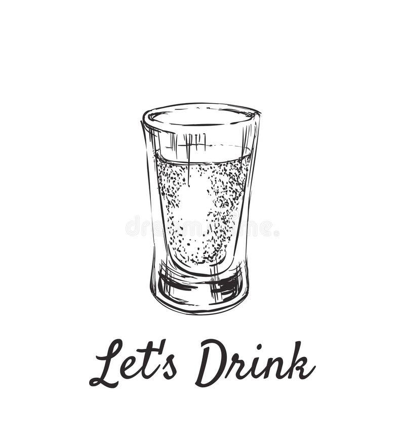 Pozwala napój Alkoholiczni napoje w strzałów szkłach Ręka Rysująca napoju wektoru ilustracja ilustracja wektor