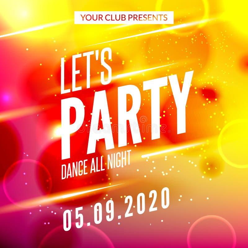Pozwala partyjnego projekta plakat Noc klubu szablon Muzyki partyjny zaproszenie od DJ ilustracja wektor