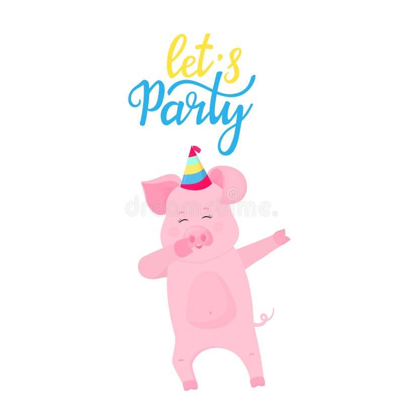Pozwala s przyj?cia Dancingowa świnia w pasiastym kapeluszu Śmiesznego prosiątka dabbing postać z kreskówki ?liczny prosiaczek za ilustracji