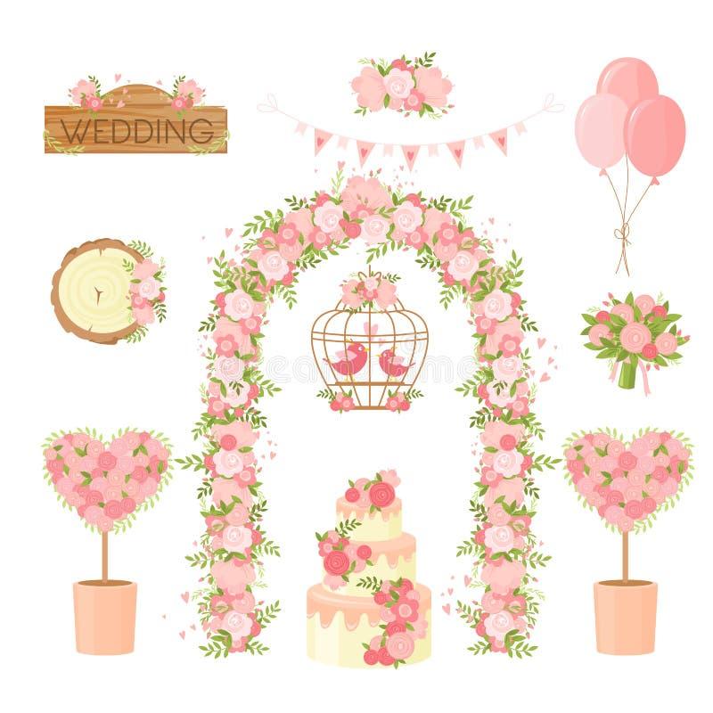 Pozycje dekoracyjne kwiatów imprezy ślubnej Karykatura kwiatów, bukiet świąteczny, łuk, ciasto, kartka powitalna gołębi royalty ilustracja