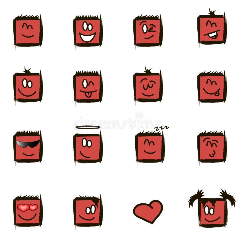 Pozytywów kwadratowi smilies ilustracja wektor