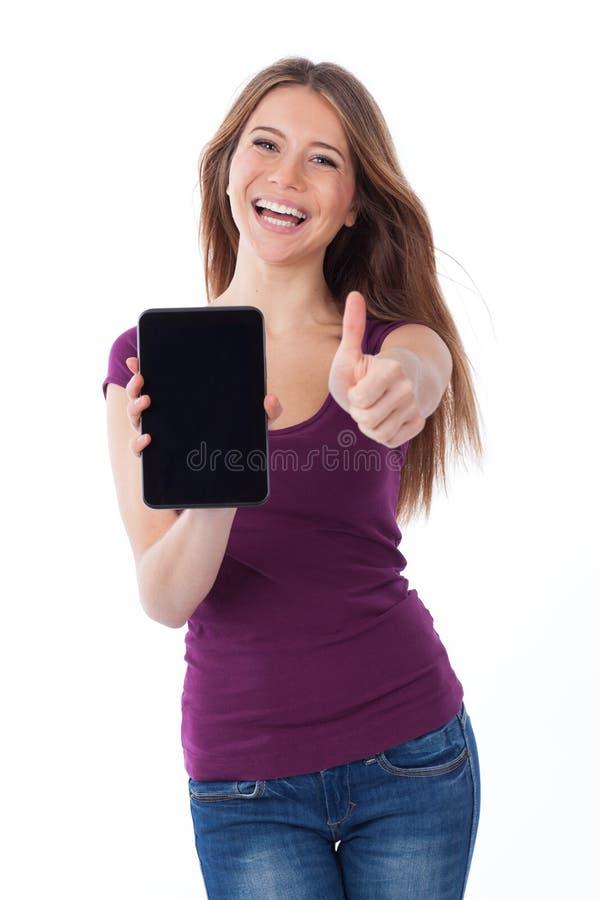 Pozytyw, kobieta i touchpad, zdjęcie royalty free