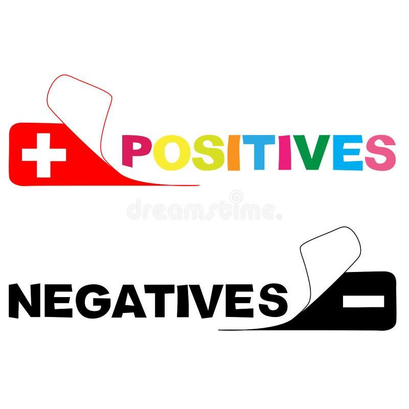 pozytyw negatyw ilustracja wektor