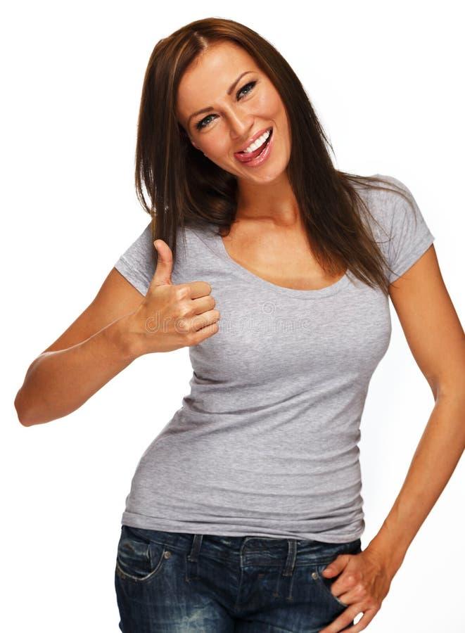 Pozytywna brunetki dziewczyna z długie włosy zdjęcia royalty free