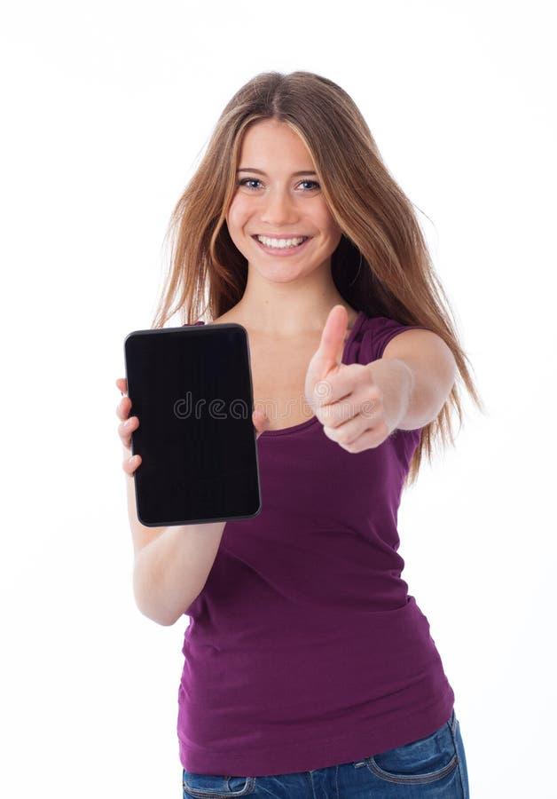 Pozytywna kobieta trzyma touchpad fotografia stock