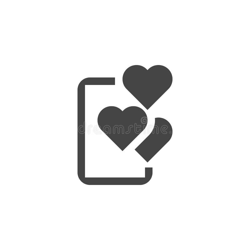 Pozytywna komunikacja na telefon komórkowy ikonie Abstrakcjonistyczny smartphone i serc piktogram w mieszkaniu projektuje royalty ilustracja