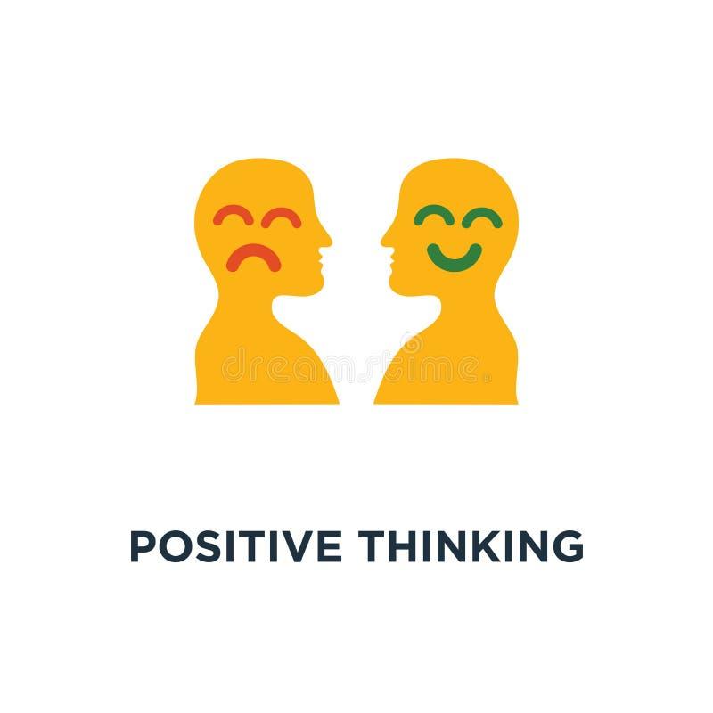 pozytywna myśląca ikona negatywna emocja, biedy usługowa ilość, optymizm postawa, pesymizmu pojęcia symbolu projekt, zły doświadc ilustracja wektor