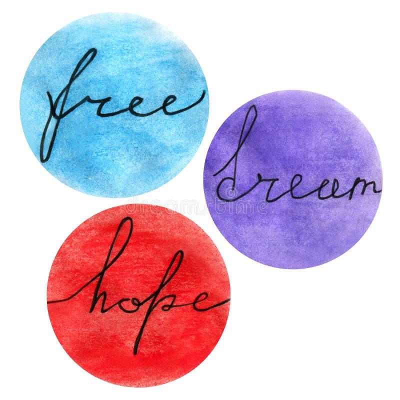 Pozytywne Motywacyjne wycena uwalniają, marzą, mieć_nadzieja, ilustracji