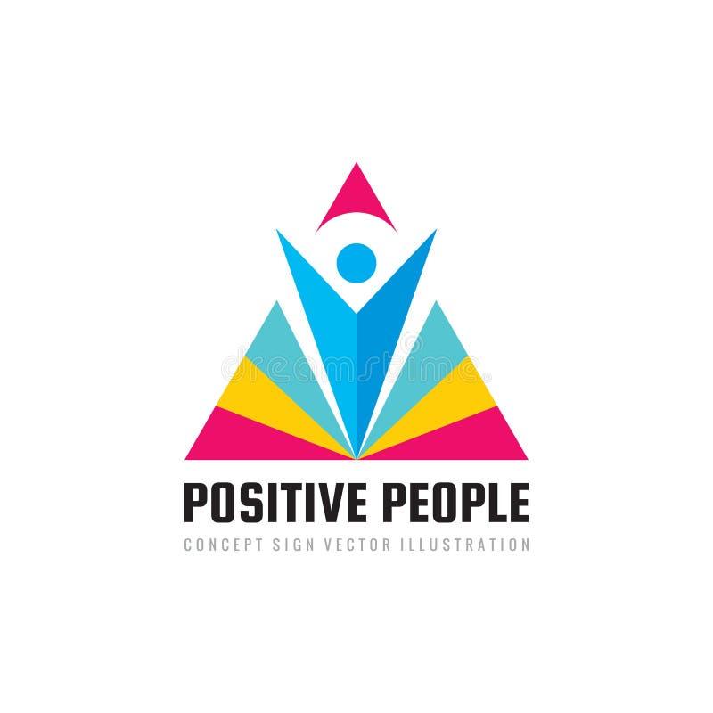 Pozytywni ludzie - pojęcie loga szablonu wektoru biznesowa ilustracja Abstrakcjonistyczny ludzki charakter z trójboka ostrosłupa  royalty ilustracja