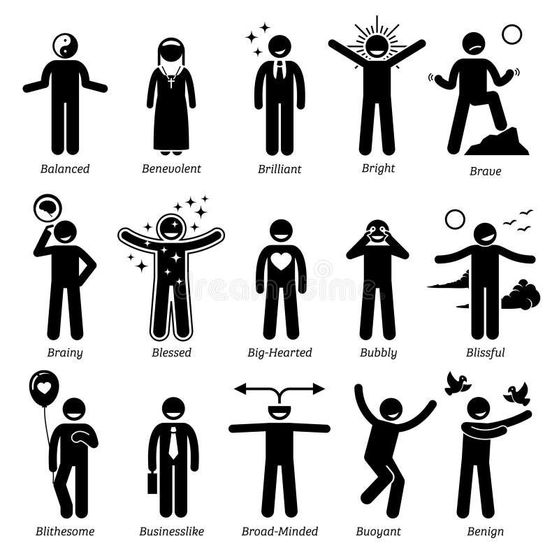Pozytywni osobowość charakteru znamiona Clipart ilustracji