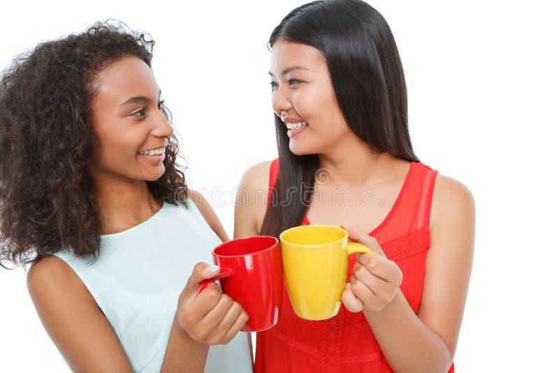 Pozytywni przyjaciele pije herbaty obraz stock