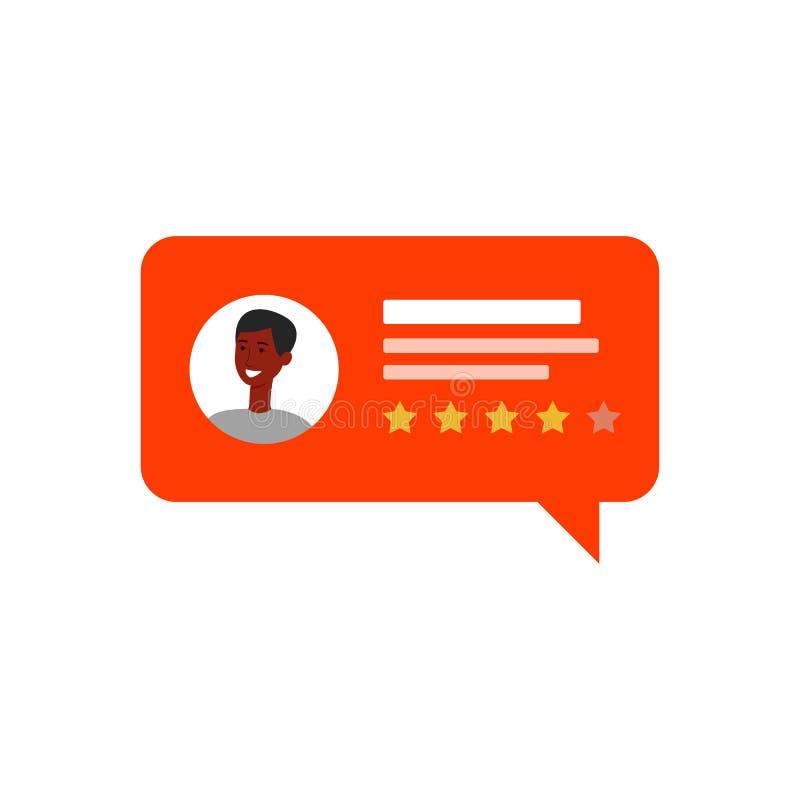 Pozytywny klienta przeglądu mowy bąbel Afrykański mężczyzny avatar z czterogwiazdkową informacje zwrotne royalty ilustracja
