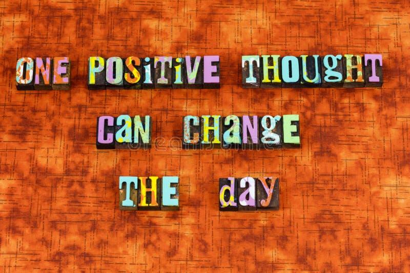 Pozytywny myślący optymizm zmiany radości letterpress obraz stock