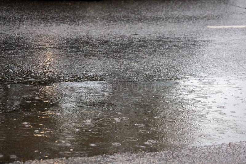 Pozza sulla strada asfaltata a pioggia in città con il fuoco selettivo e la sfuocatura del boke fotografia stock