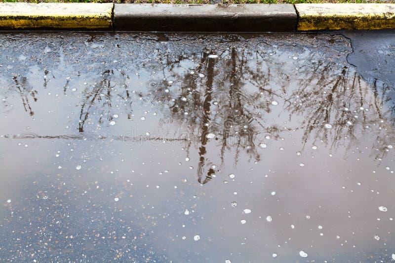 Pozza sulla via urbana nel giorno piovoso fotografia stock