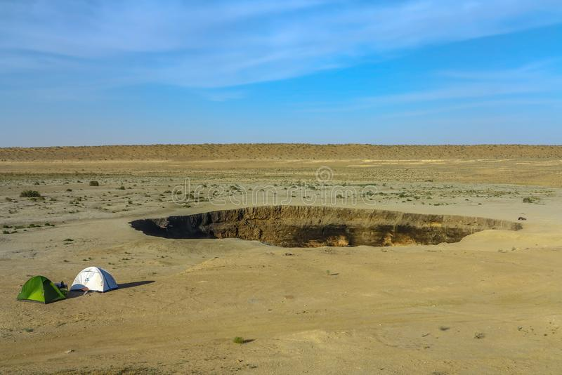 Pozzo 02 del cratere del gas di Darvaza fotografia stock