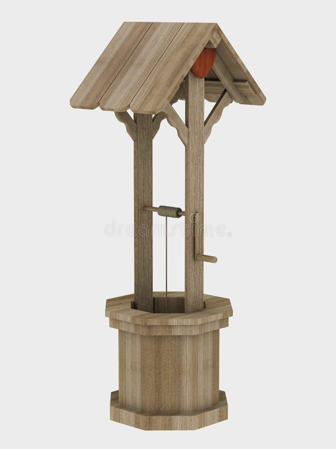 Pozzo di legno del giardino illustrazione di stock for Pozzo da giardino decorativo