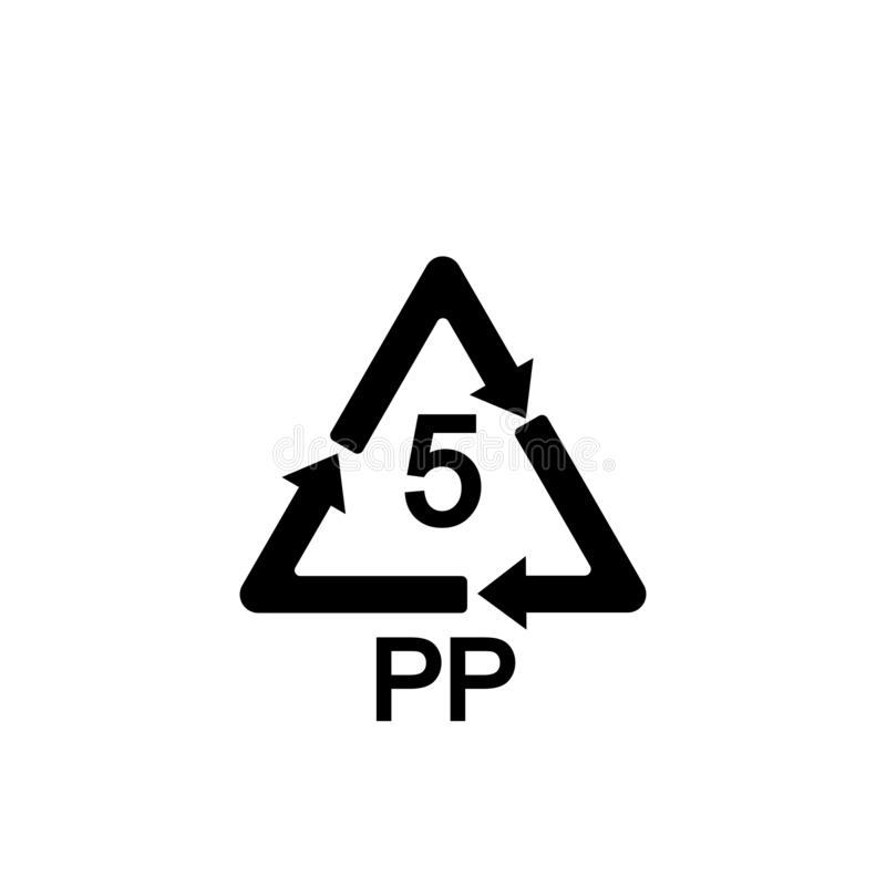 5 pp icon. PP 5 icon. Polypropylene thermoplastic polymer sign. Recycling symbol. Circle and square buttons. Flat design royalty free illustration
