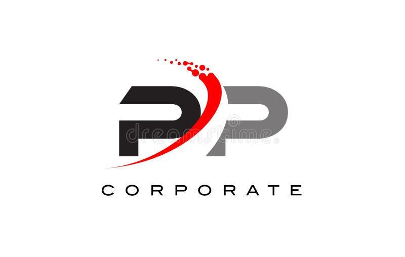 PP Modern Letter Logo Design with Swoosh vector illustration