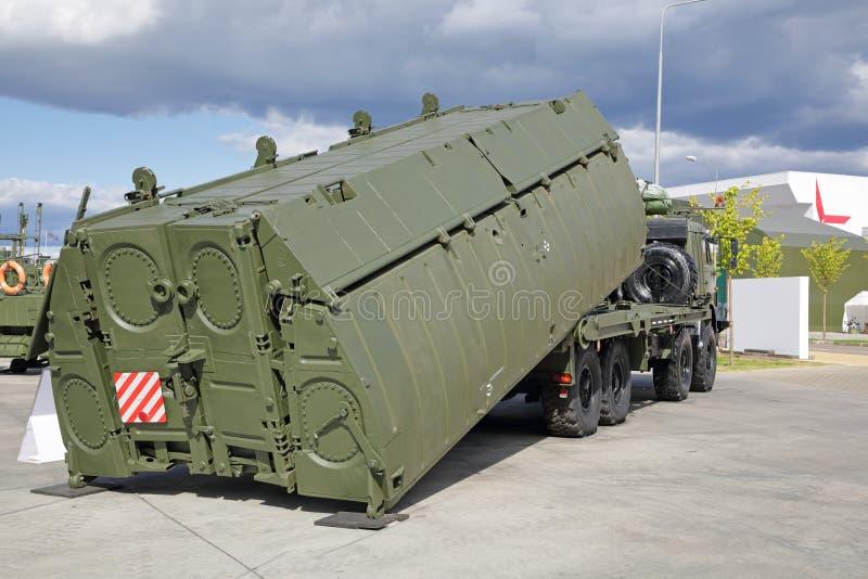 PP-2005 pontoon vehicle. KUBINKA, MOSCOW OBLAST, RUSSIA - AUG 22, 2018: International military-technical forum ARMY-2018. `PP-2005` pontoon vehicle with interior stock photo
