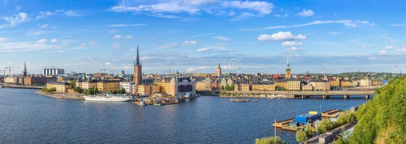 Ppanorama av den gamla staden (Gamla Stan) i Stockholm, Sverige royaltyfri bild