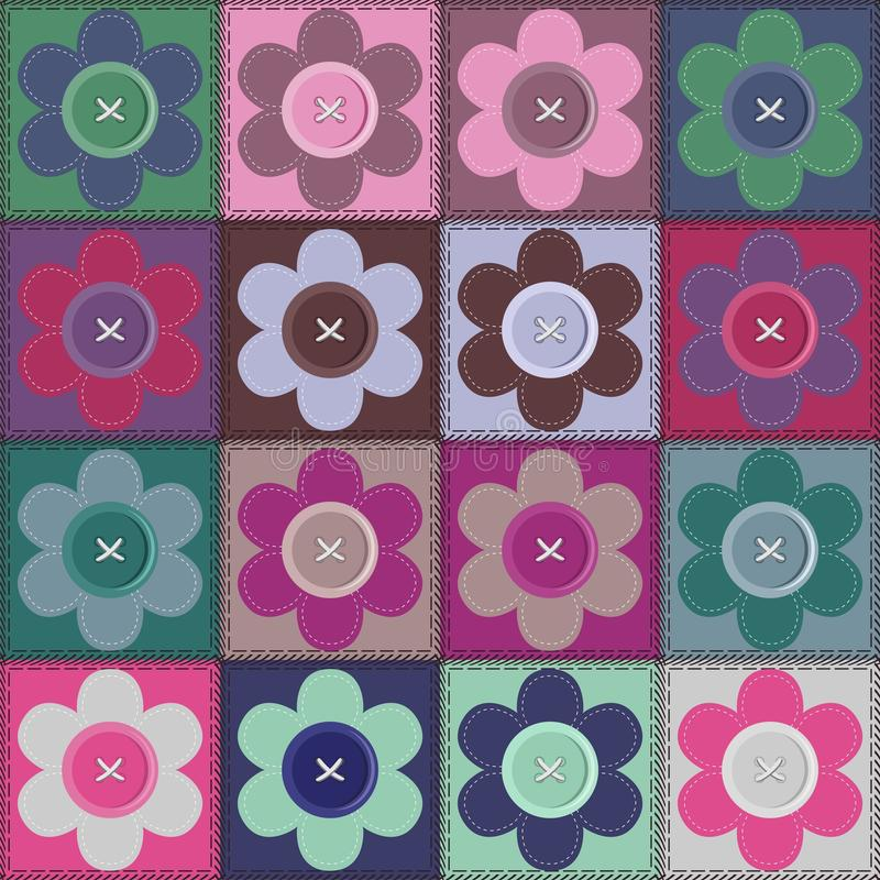 Ppatchwork Background With Flowers And Buttons Royalty Free Stock Photos