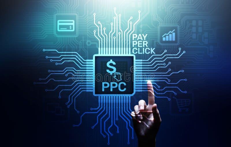 PPC薪水每个在虚屏上的点击付款技术数字销售的互联网企业概念 库存照片