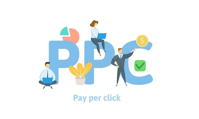 PPC,薪水每点击 与主题词、信件和象的概念 平的传染媒介例证 背景查出的白色 向量例证