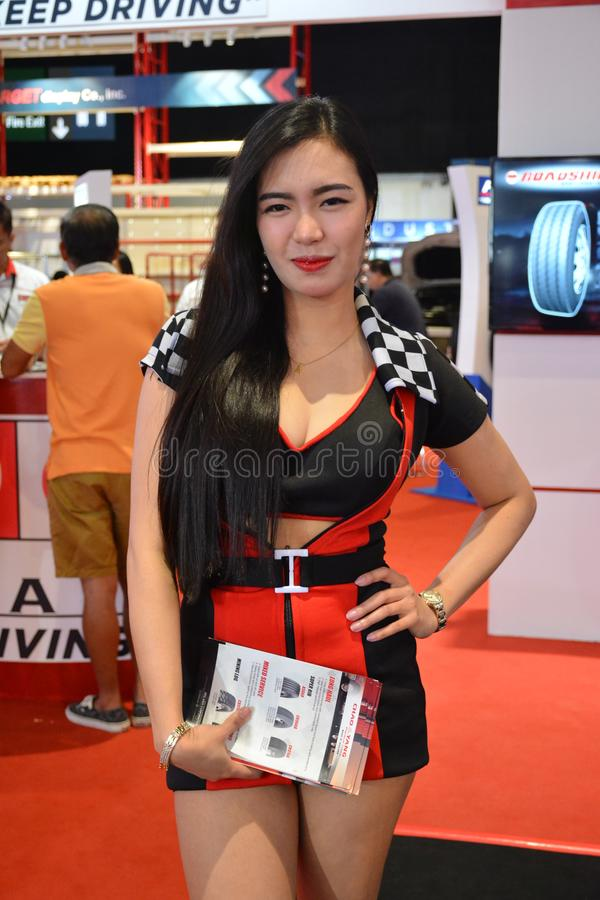 PPC Asia tires female model. PASAY, PH - AUG. 17: PPC Asia tires female model on August 17, 2018 at Transport and Logistics in World Trade Center Metro Manila royalty free stock photography