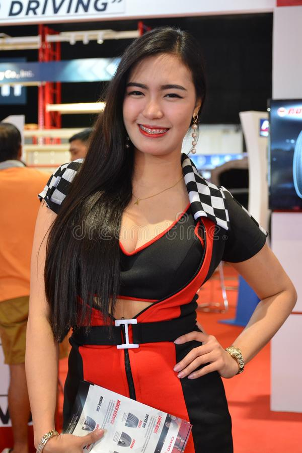 PPC Asia tires female model. PASAY, PH - AUG. 17: PPC Asia tires female model on August 17, 2018 at Transport and Logistics in World Trade Center Metro Manila royalty free stock image