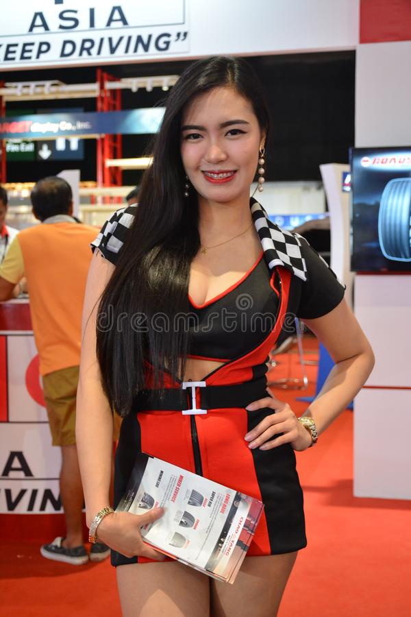 PPC Asia tires female model. PASAY, PH - AUG. 17: PPC Asia tires female model on August 17, 2018 at Transport and Logistics in World Trade Center Metro Manila stock photos