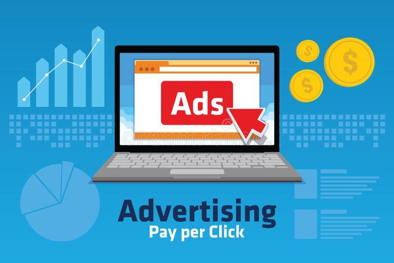 PPC betaalt per klik Internet op de markt brengend het analitische verkeer van de conceptengrafiek stock illustratie