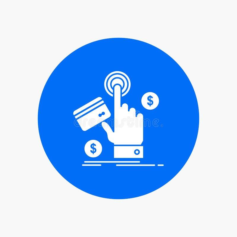 ppc, clique, pagamento, pagamento, ícone branco do Glyph da Web no círculo Ilustra??o do bot?o do vetor ilustração do vetor
