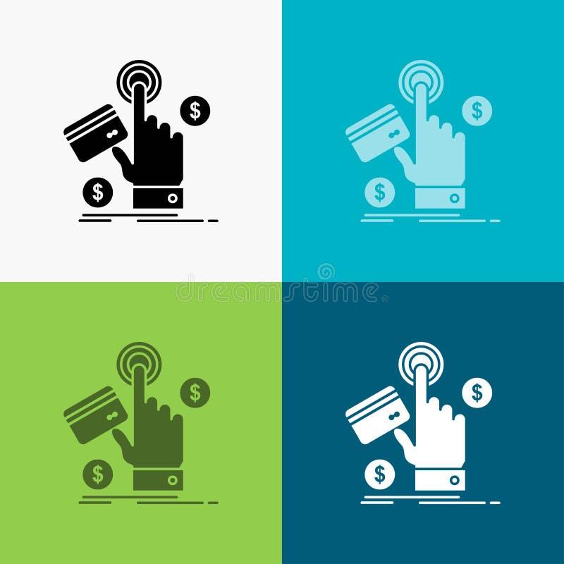 ppc, clique, pagamento, pagamento, ?cone da Web sobre o v?rio fundo projeto do estilo do glyph, projetado para a Web e o app Veto ilustração do vetor