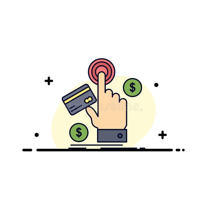 ppc, clique, pagamento, pagamento, vetor liso do ícone da cor da Web ilustração do vetor