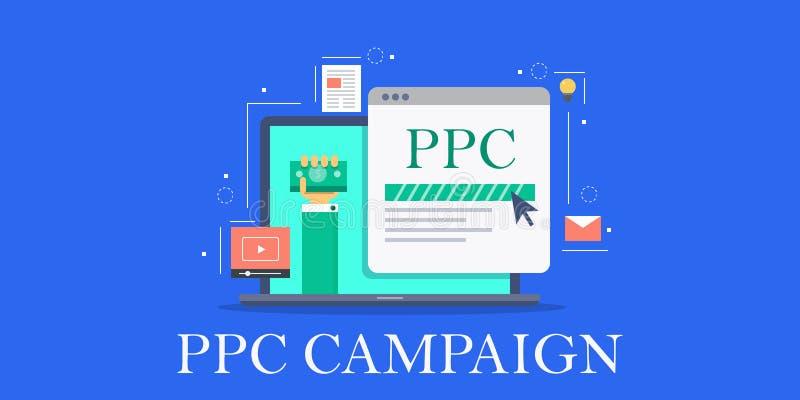 PPC de campagne, betaalt per betaalde klik, marketing, klikt door tariefoptimalisering, strategieconcept de bedrijfs van CTR Vlak stock illustratie