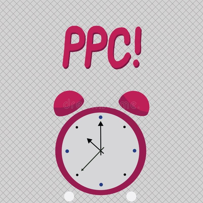 Ppc för ordhandstiltext Affärsidé för lön per klicken som annonserar direkt trafik för strategier till Websites vektor illustrationer